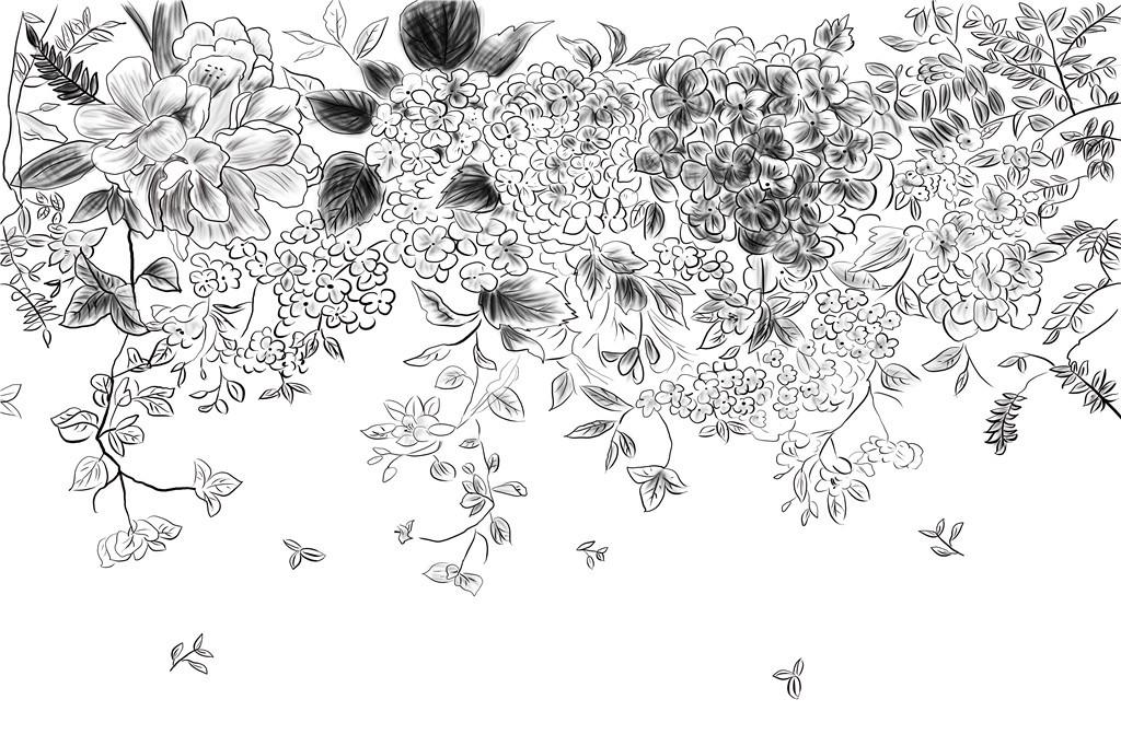 简约唯美手绘线条黑白花朵背景墙