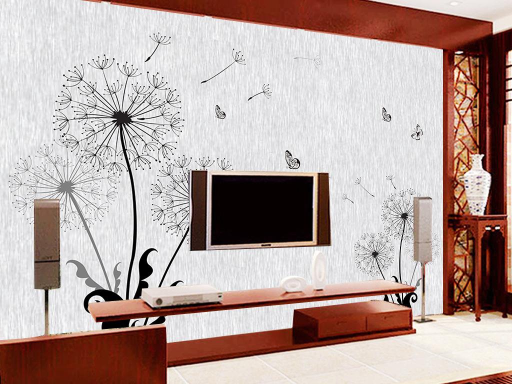 3d立体手绘蒲公英室内背景墙