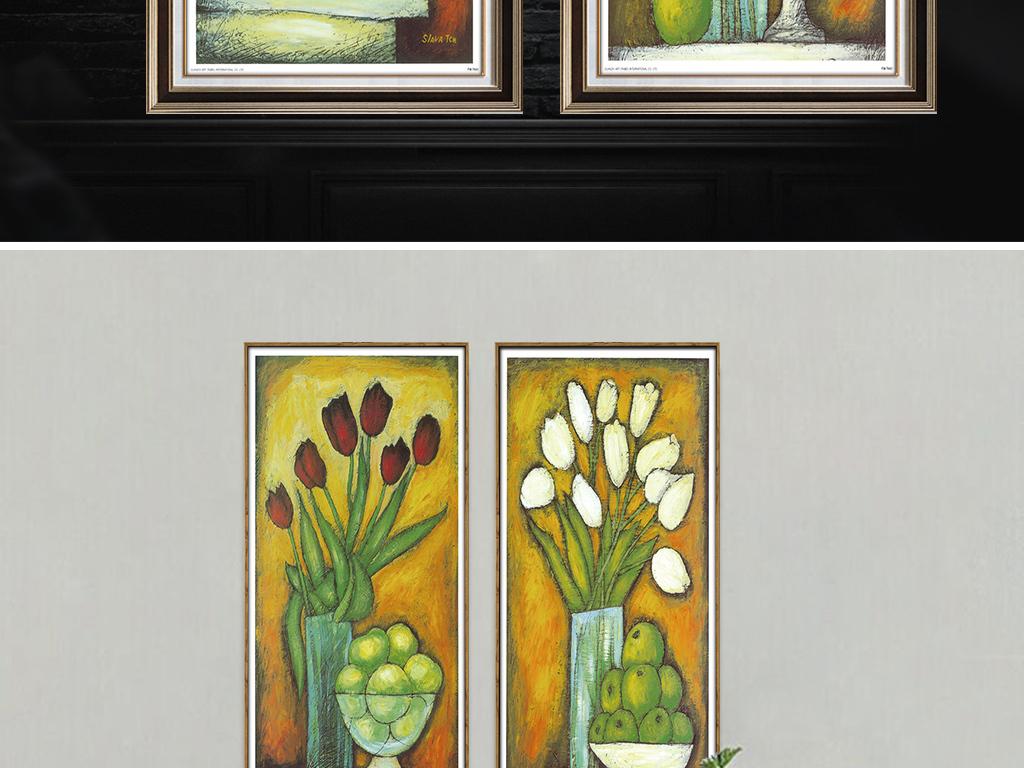 背景墙|装饰画 无框画 植物花卉无框画 > 手绘郁金香油画花瓶竖幅无框