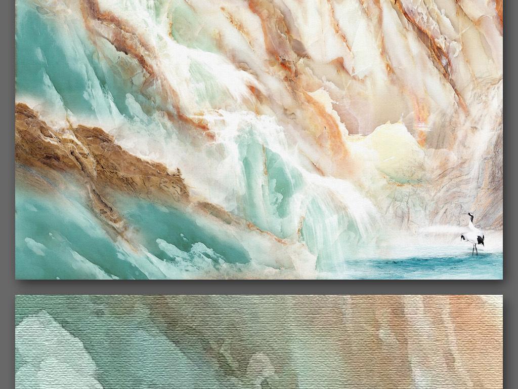 大理石纹理风景背景墙手绘油画风格18