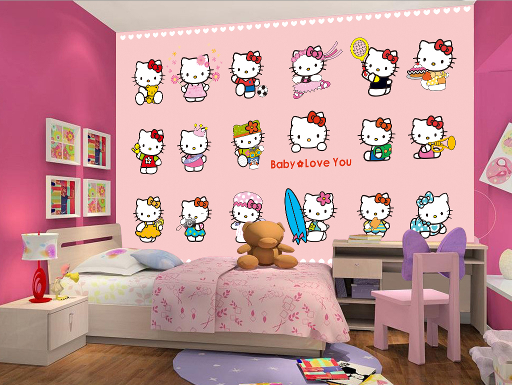 矢量手绘可爱卡通动物小猫儿童房背景墙