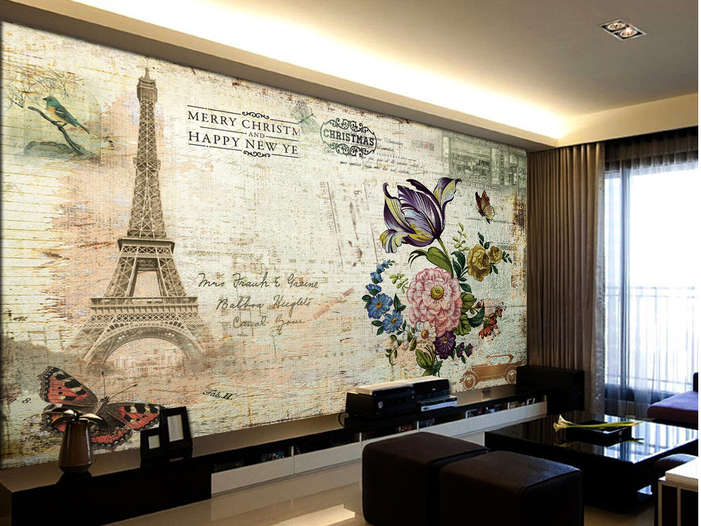 现代油画花纹背景墙图片