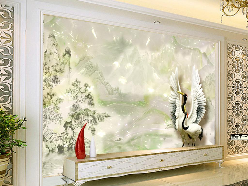玉雕山水仙鹤背景墙壁画