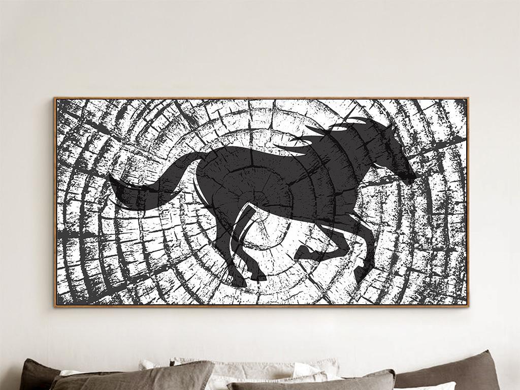 抽象无框画简约剪影黑白极简中式木头马木纹