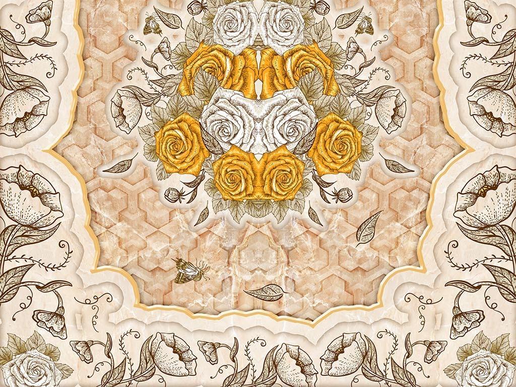 手绘金色玫瑰欧式花纹大理石纹3d地板地砖