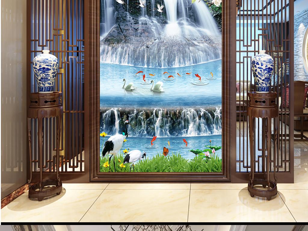 大型双重瀑布财源滚滚来九鱼山水玄关装饰画图片