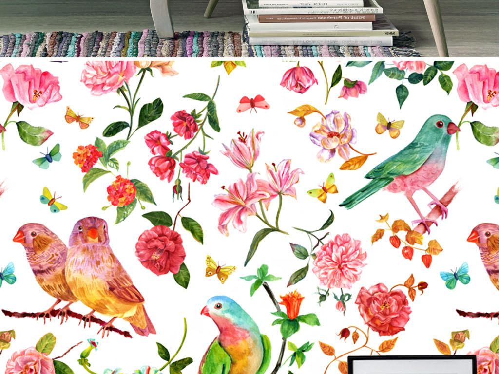 手绘背景客厅简欧小鸟花朵工装背景墙花卉背景墙淡雅水彩花卉北欧背景