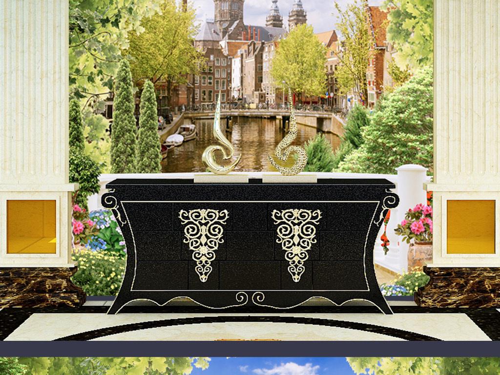 欧式花园风景建筑装饰画背景墙