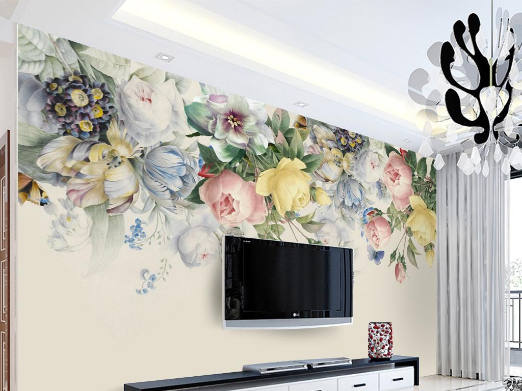手绘复古玫瑰花电视背景墙