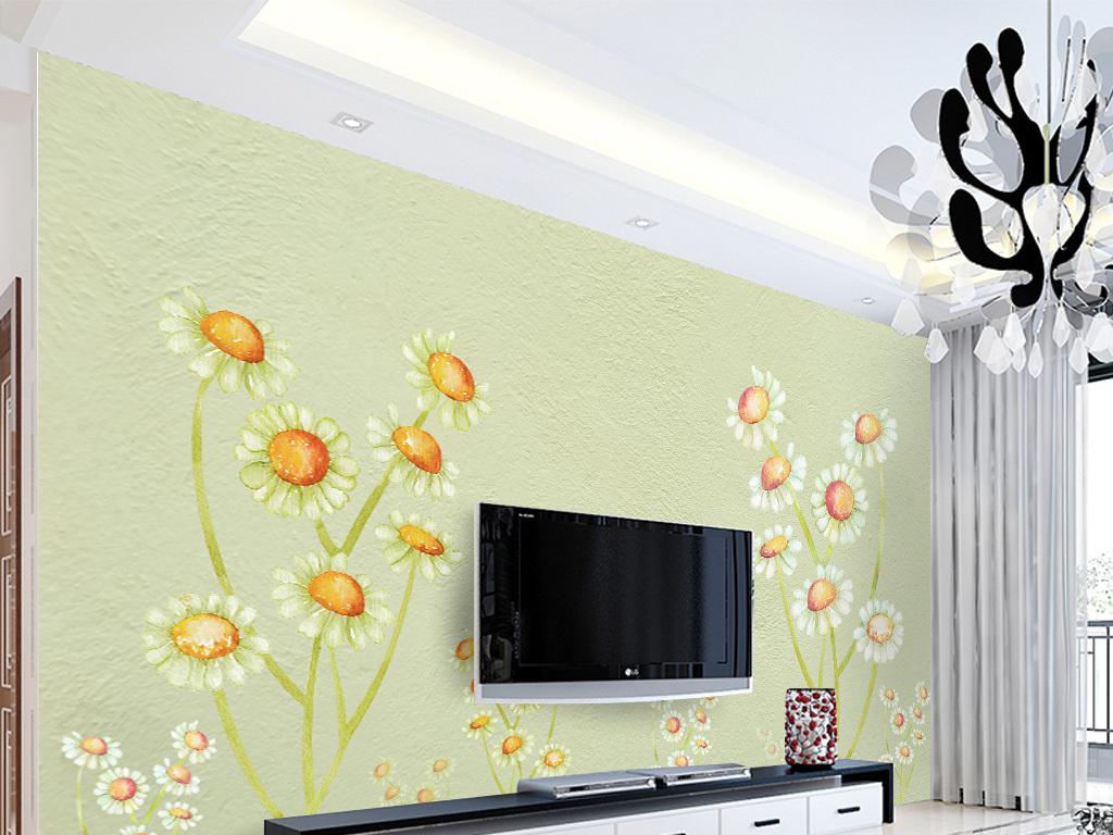 手绘向日葵                                  手绘背景墙