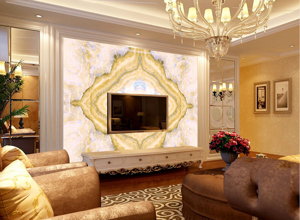 个性欧式花纹大理石纹电视背景墙