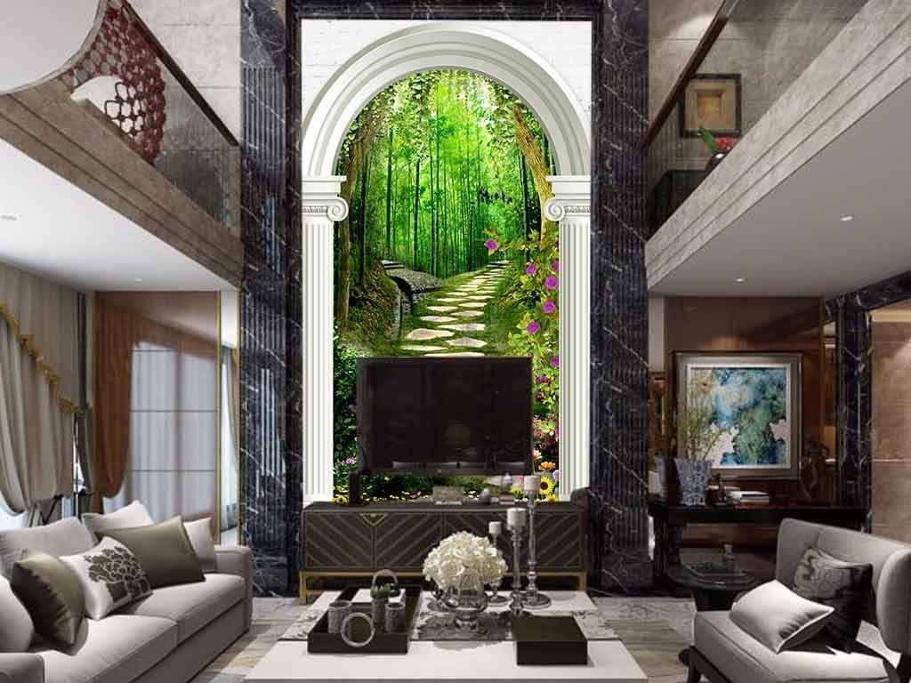 3d木桥小道罗马柱走廊幽静风景画玄关图片