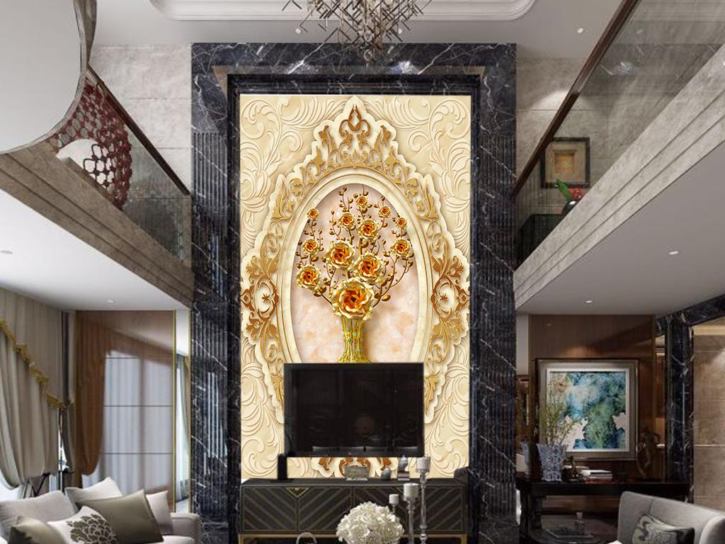 欧式简约金色花朵大理石纹理玄关背景墙