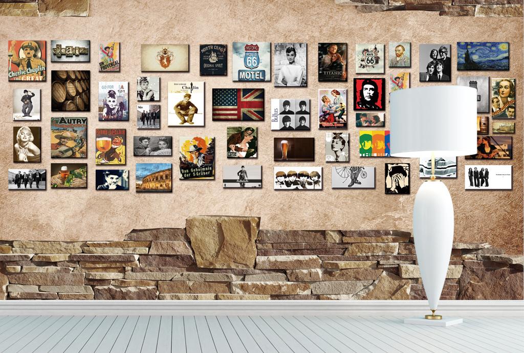 欧式复古油画文艺墙电视背景墙