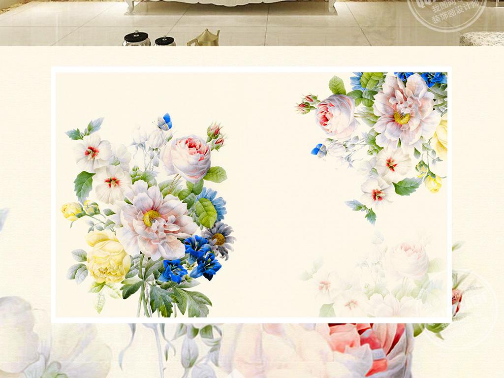 手绘复古玫瑰花电视背景墙(图片编号:15805261)_欧式