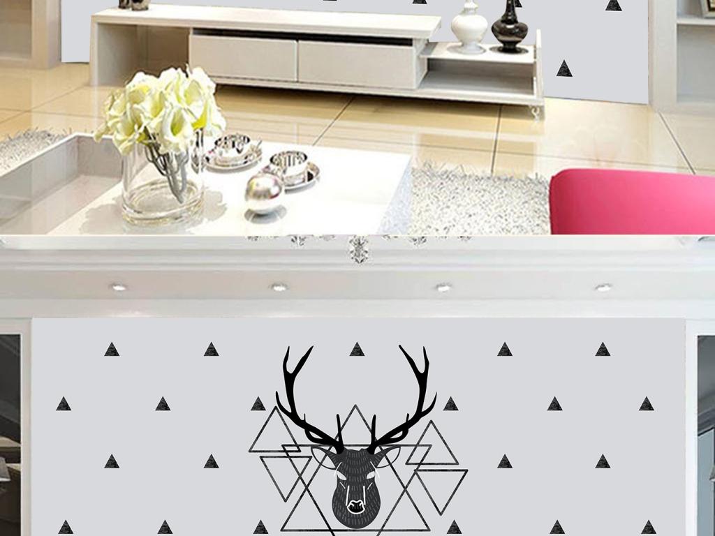 北欧风格手绘鹿头三角形白砖墙壁画背景墙