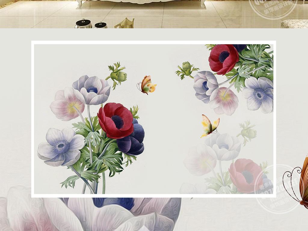 欧美风情乡村水彩画手绘水墨手绘花朵花卉田园水墨画郁金香水彩画电视