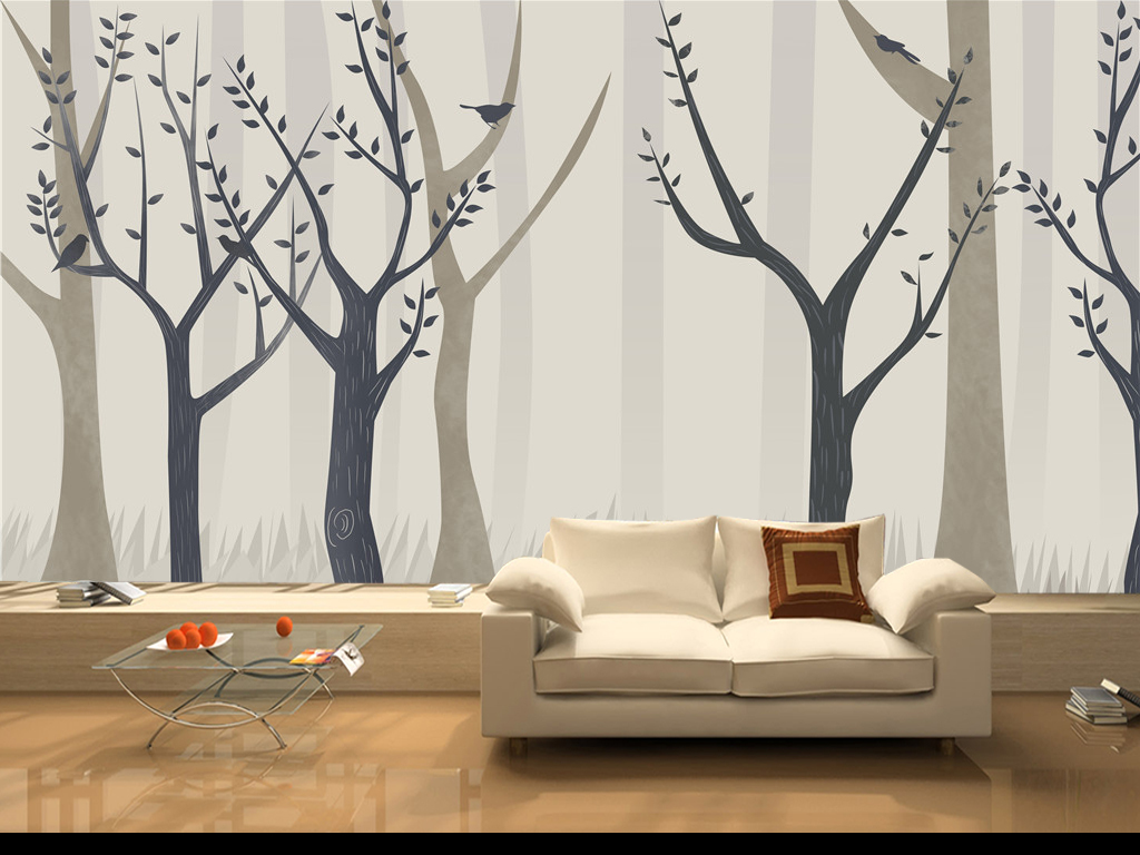 北欧风格浪漫唯美手绘抽象树木背景墙