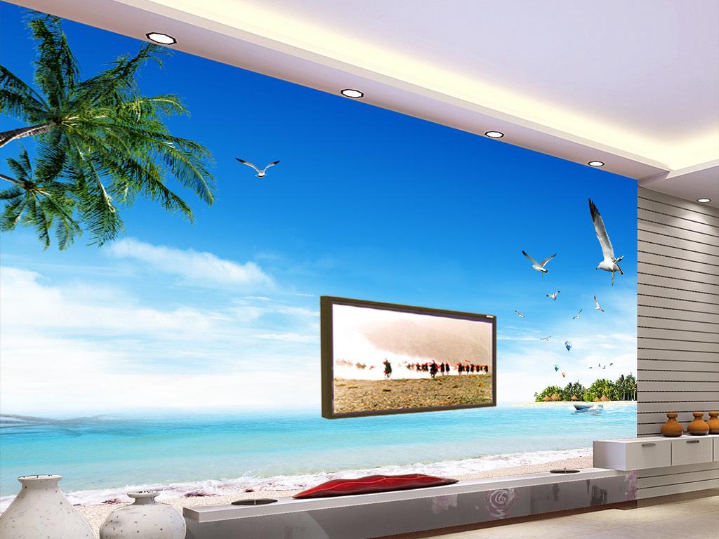 壁画蓝天白云椰子树海景沙滩沙滩椰树贝壳