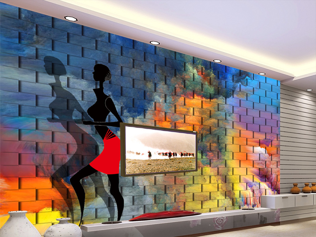 复古怀旧欧式3d砖墙人物缩影涂鸦大型壁画