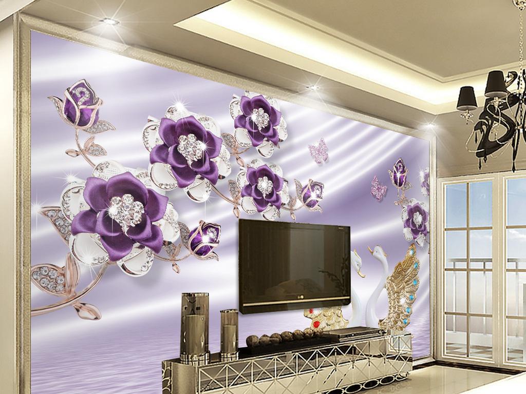 3d奢华欧式丝绸珍珠花朵电视背景墙