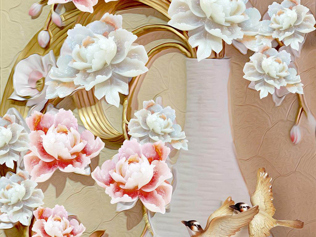 欧式花瓶玄关花瓶玄关背景墙玄关背景墙瓷砖荷花玄关