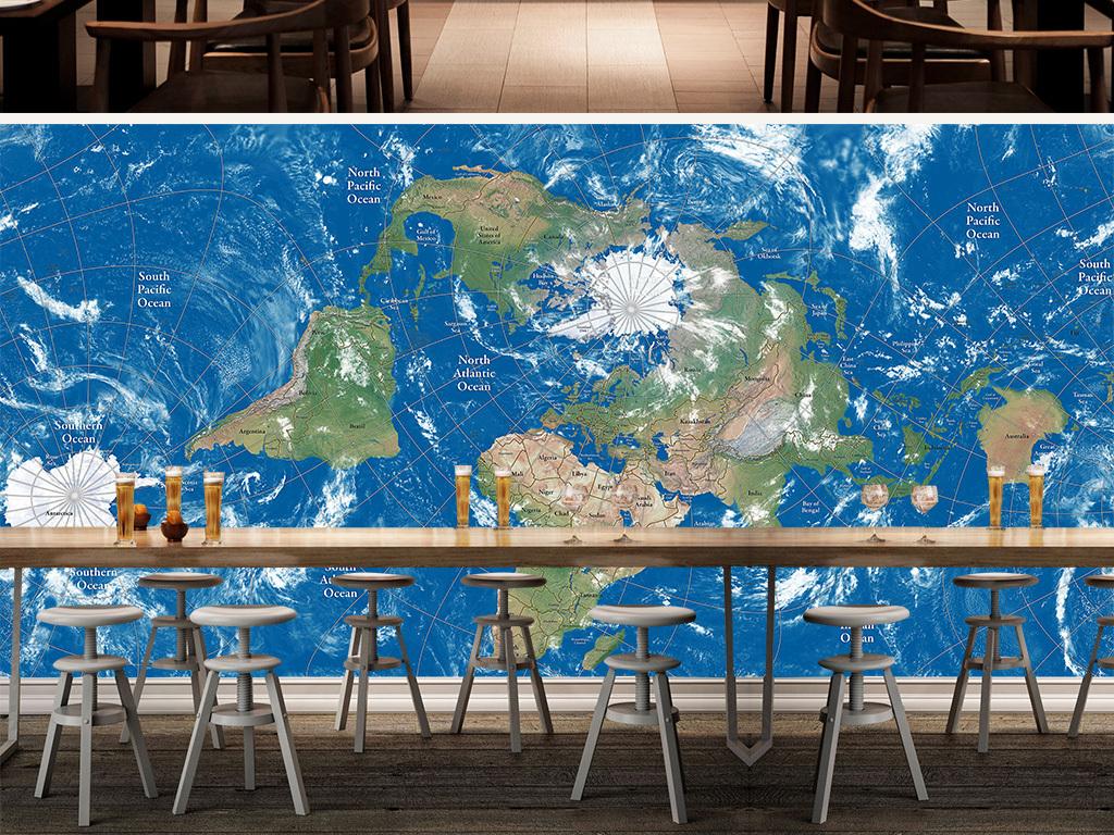 英文版蓝色世界地图高清大图卫星地图
