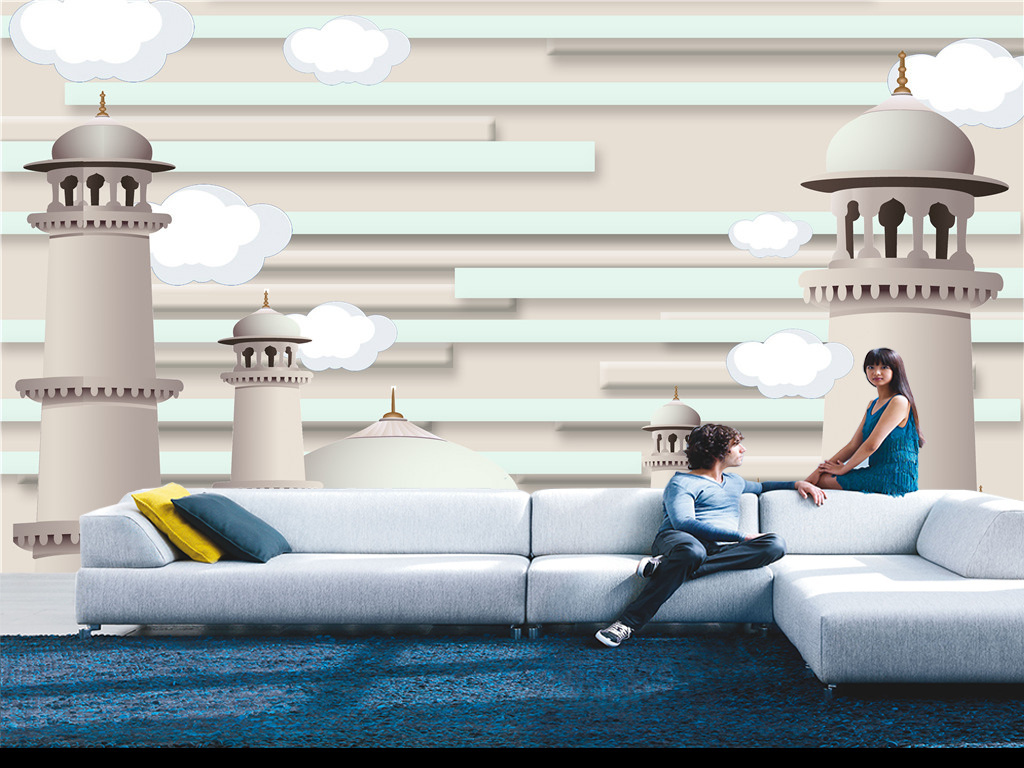 手绘3d立体卡通白云城堡电视背景墙