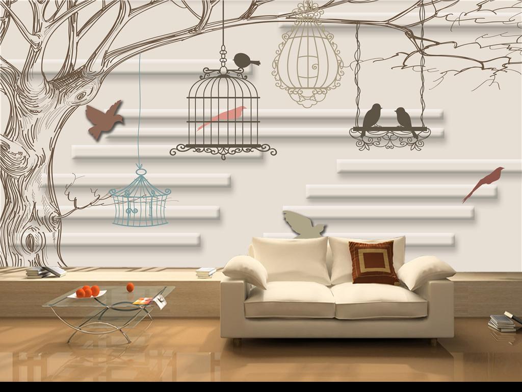 背景墙 装饰画 电视背景墙 现代简约电视背景墙 > 手绘创意抽象大树