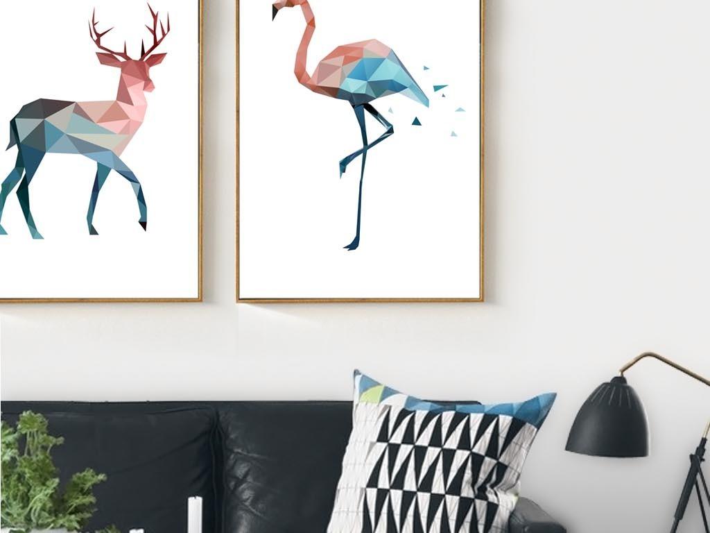 北欧简约抽象几何动物装饰画有框画餐厅挂画