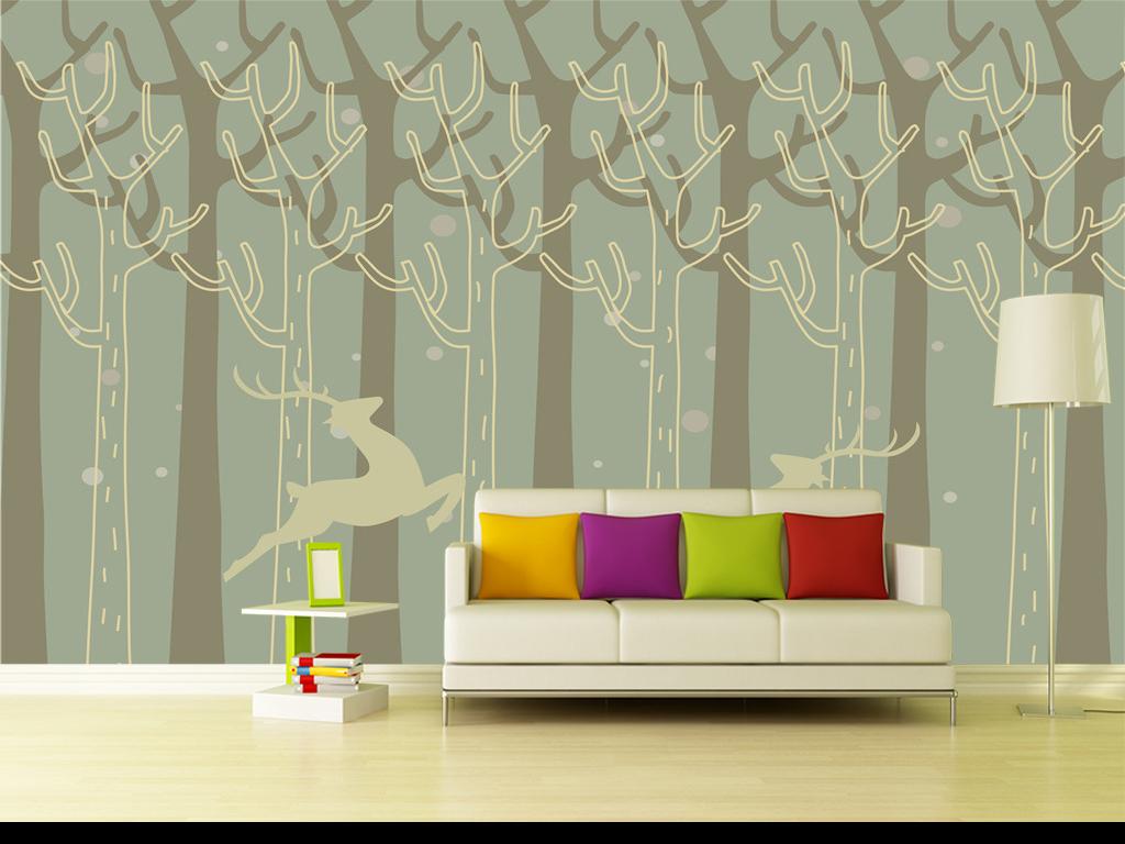 北欧风格清新手绘抽象森林麋鹿背景墙