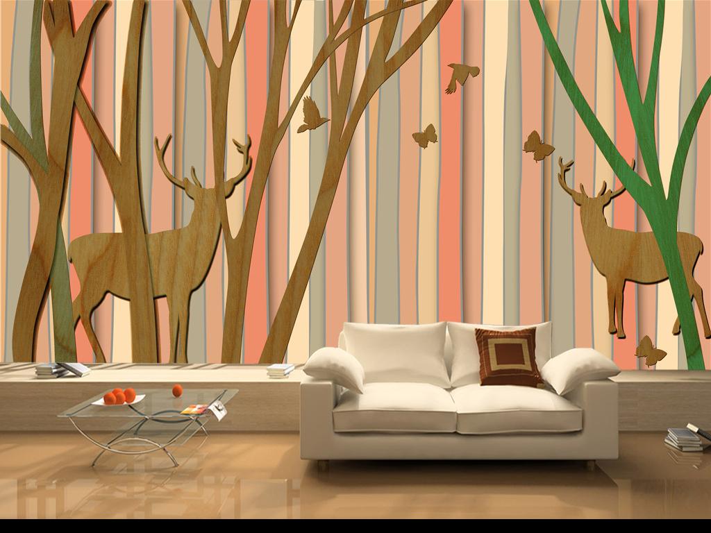 北欧风格手绘3d立体树林麋鹿小鸟背景墙北欧简欧欧式清新