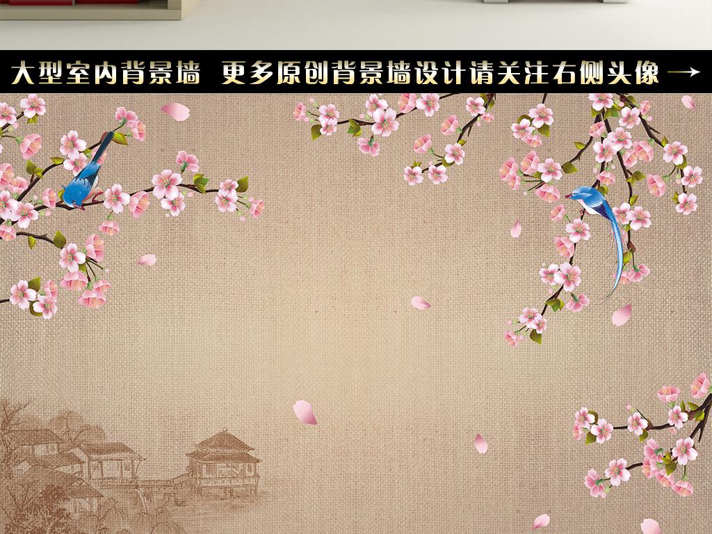 中式手绘花鸟电视背景墙