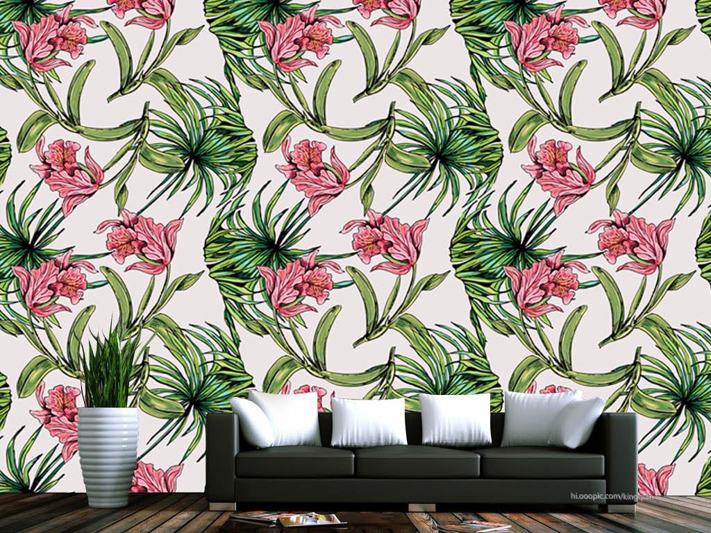 背景墙|装饰画 墙纸 美式墙纸 > 手绘棕榈树花朵美式墙纸