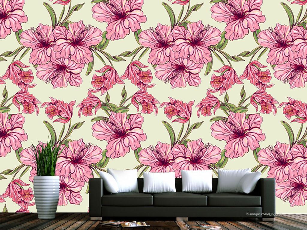 手绘花朵美式墙纸