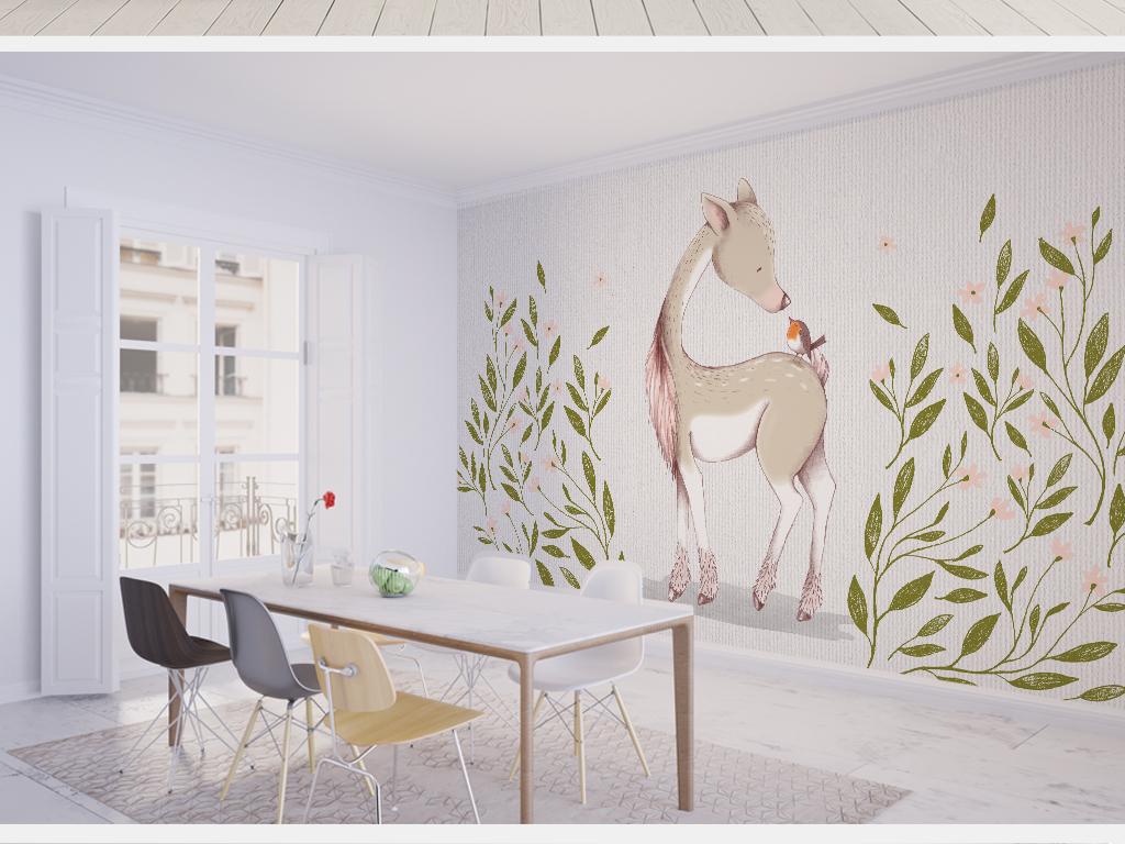 手绘小鹿背景墙简约简欧                                  小清新