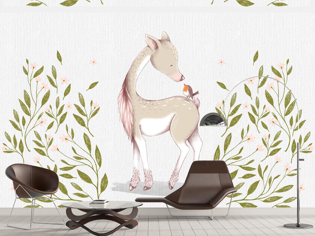 水彩欧式手绘小鹿背景墙
