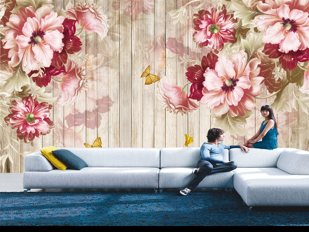 欧式风格木板复古怀旧手绘花朵背景墙