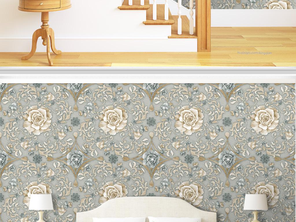 复古花纹玫瑰美式墙纸图片