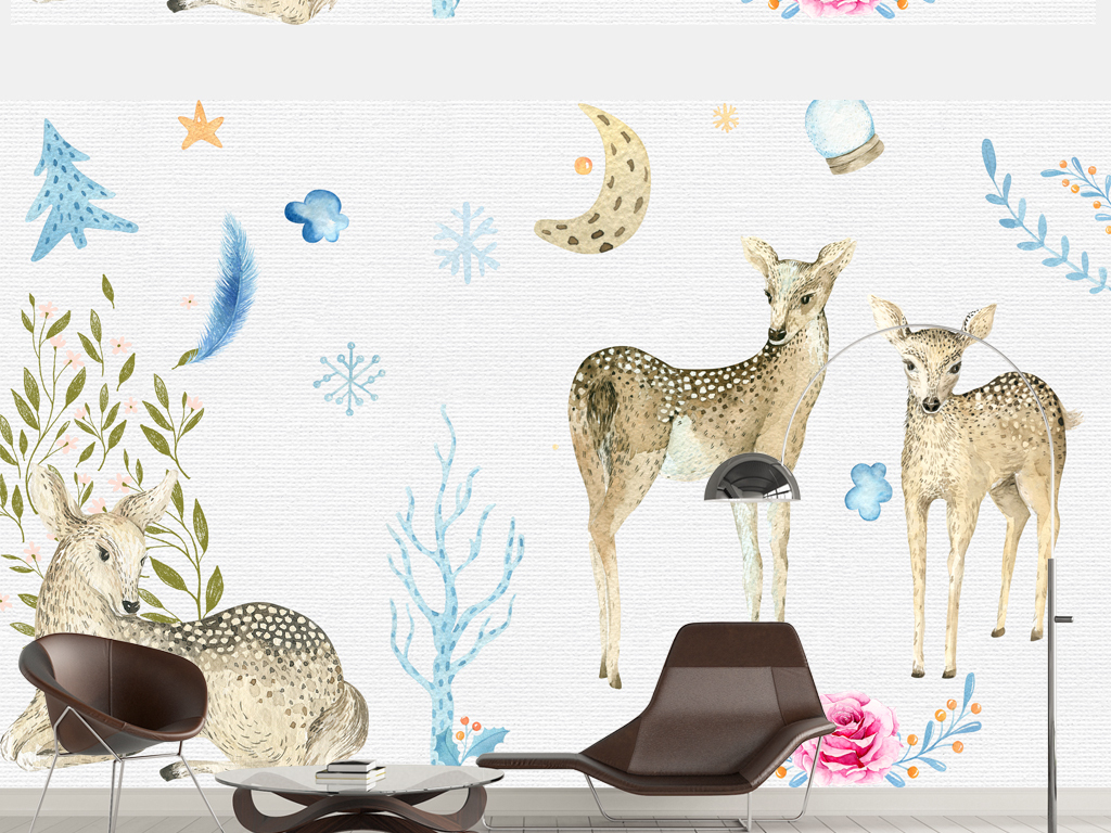 唯美手绘图片动漫小鹿