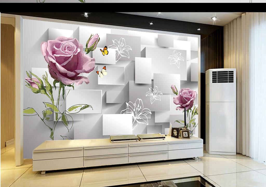 手绘玫瑰花朵3d方块电视背景墙
