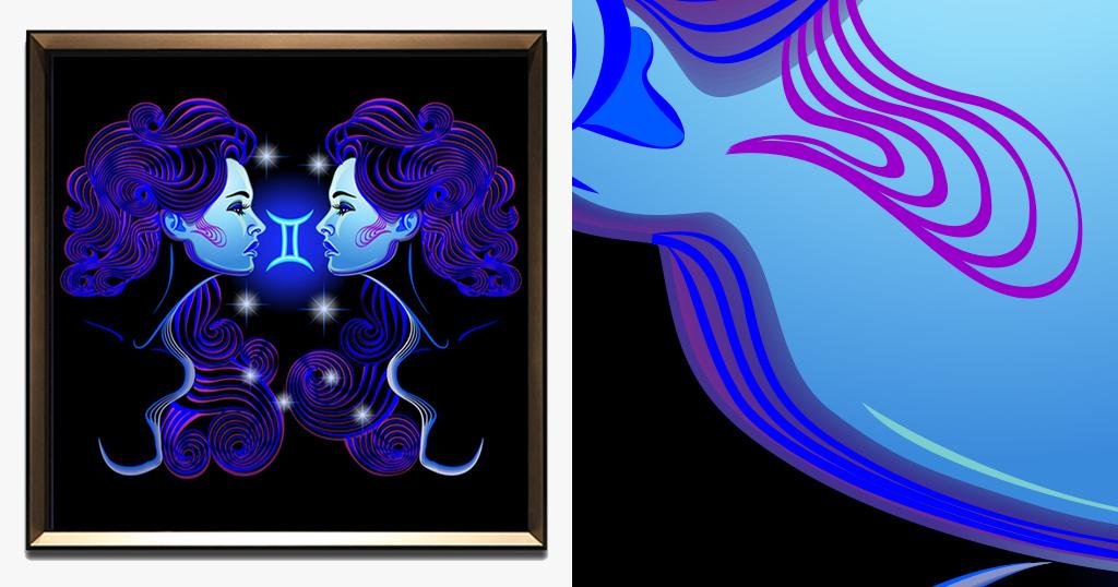 蓝色梦幻抽象线条卡通手绘双子座星座装饰画
