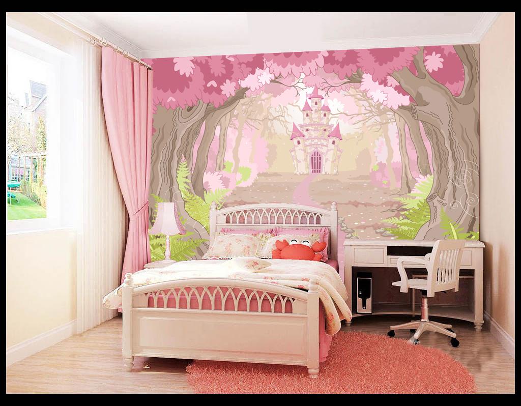 手绘卡通森林城堡童话世界儿童房背景墙