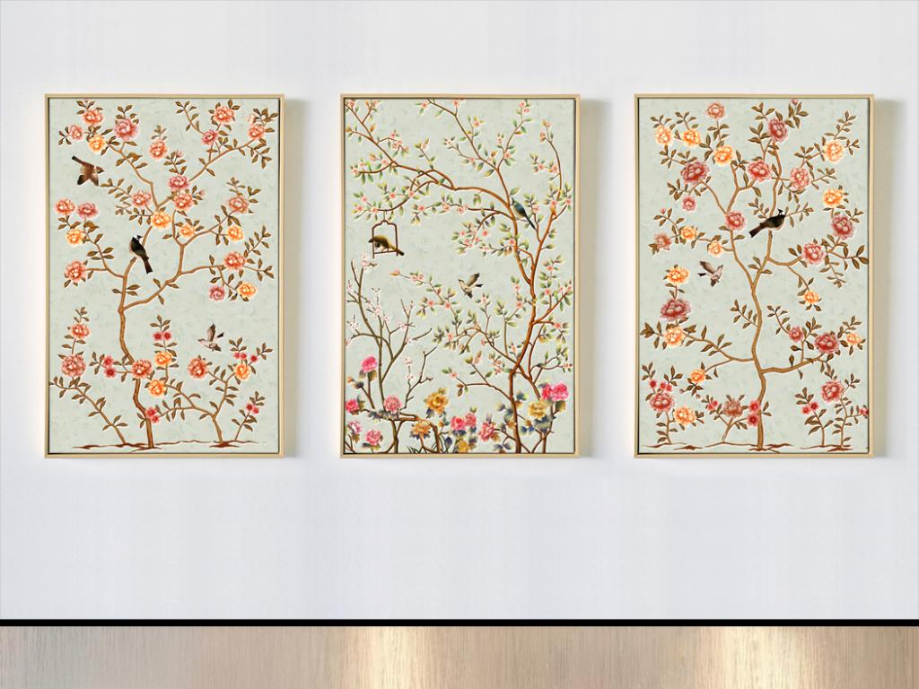 手绘新中式花鸟田园风格无框画