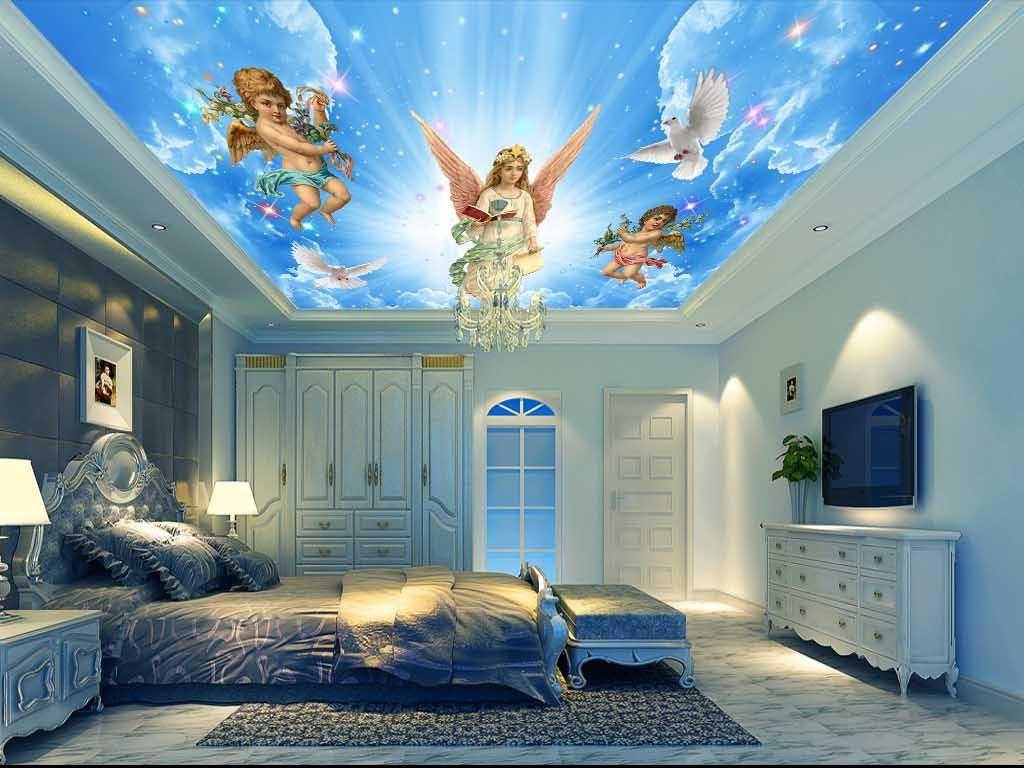 欧式梦幻油画圣女天使吊顶背景