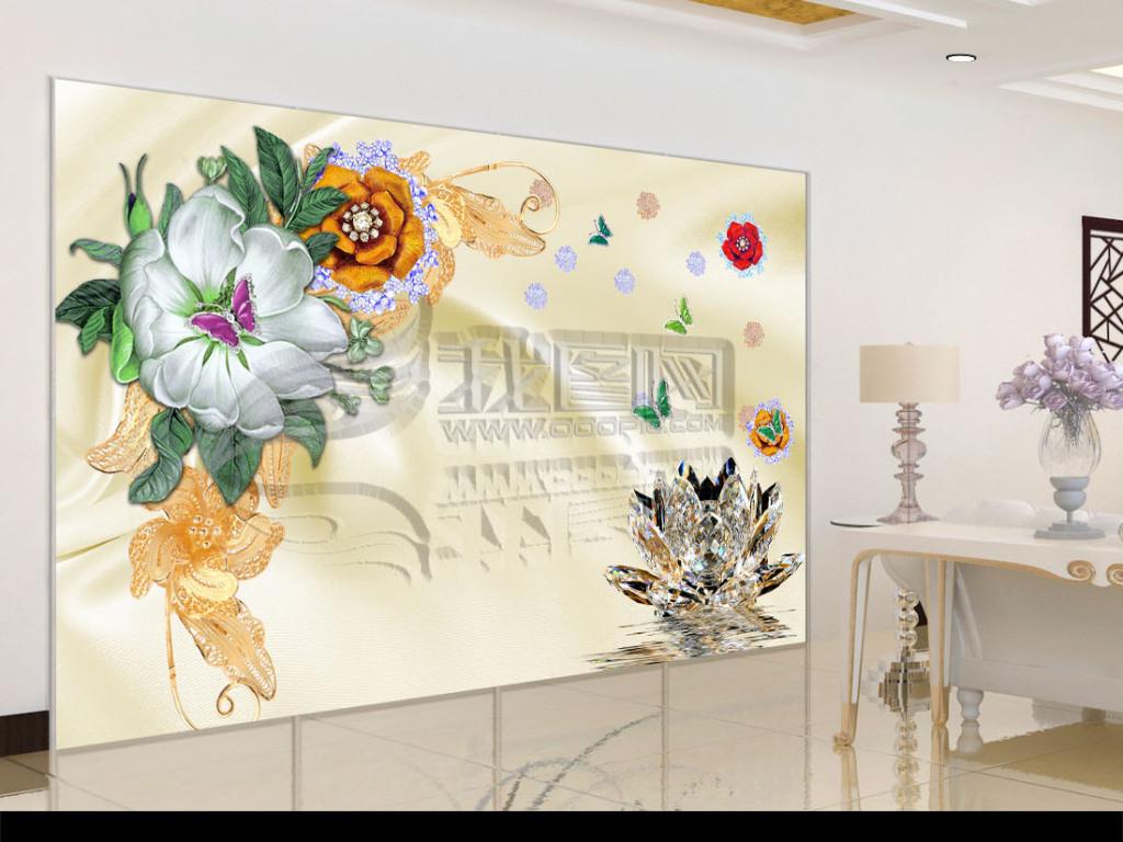 欧式唯美手绘花珠宝花朵3d立体电视背景墙