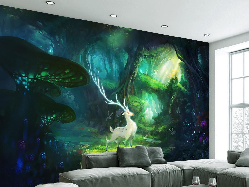 背景墙|装饰画 电视背景墙 手绘电视背景墙 > 唯美梦幻森林麋鹿客厅