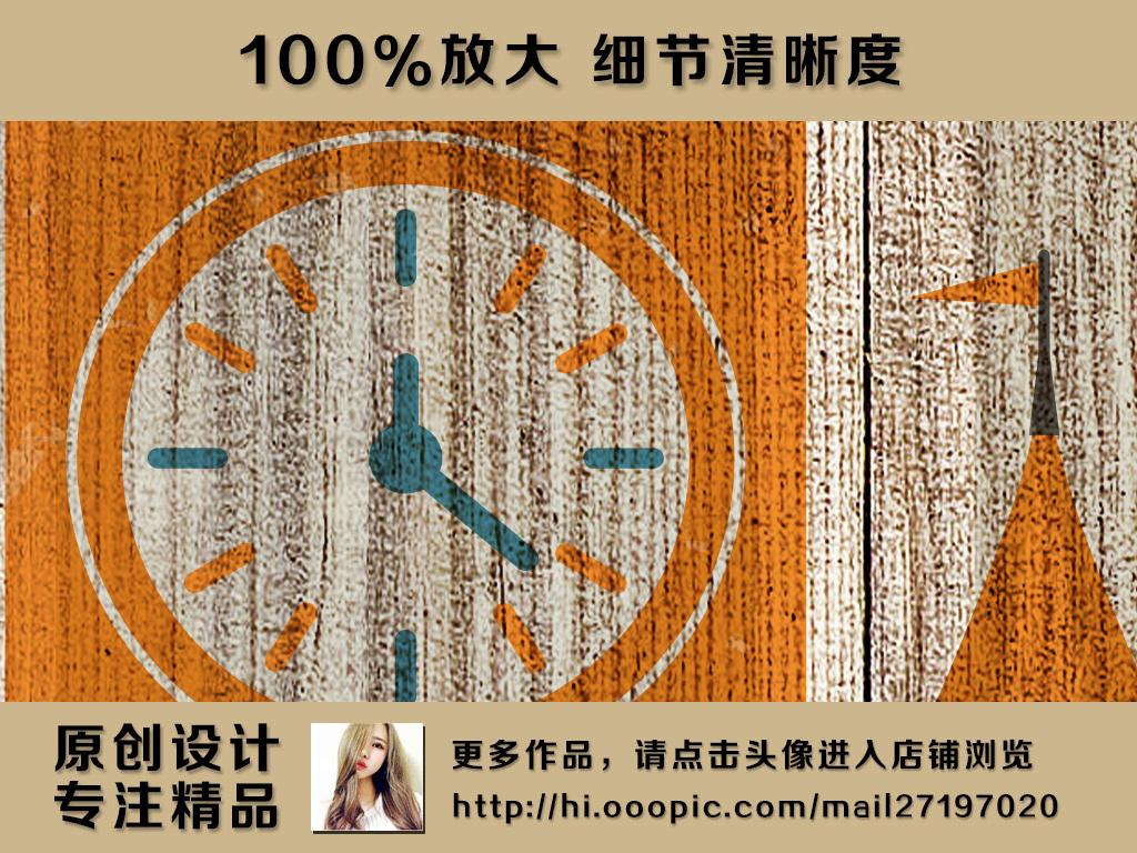 怀旧木板背景手绘世界旅游景点著名建筑集锦