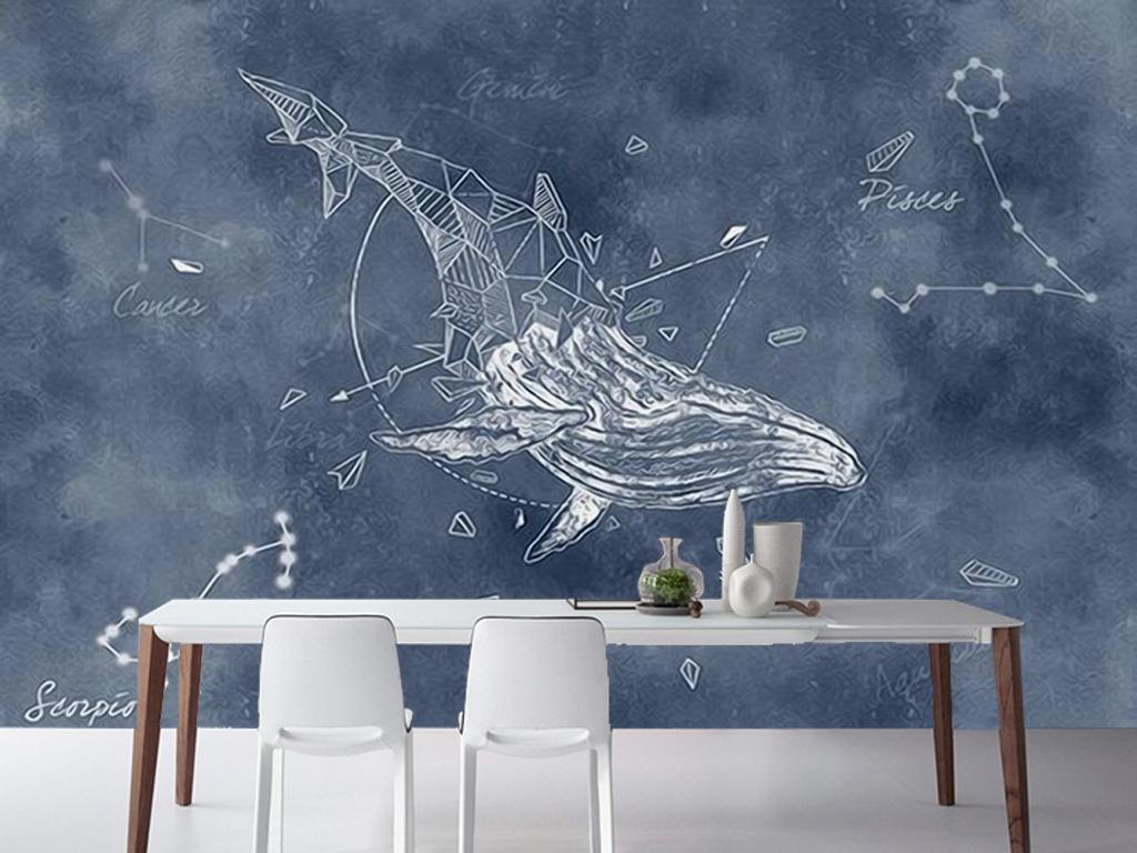 个性手绘星座鲸鱼客厅电视背景墙