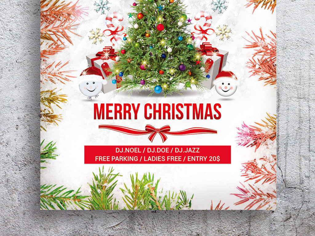 缤纷可爱圣诞节活动海报psd模板
